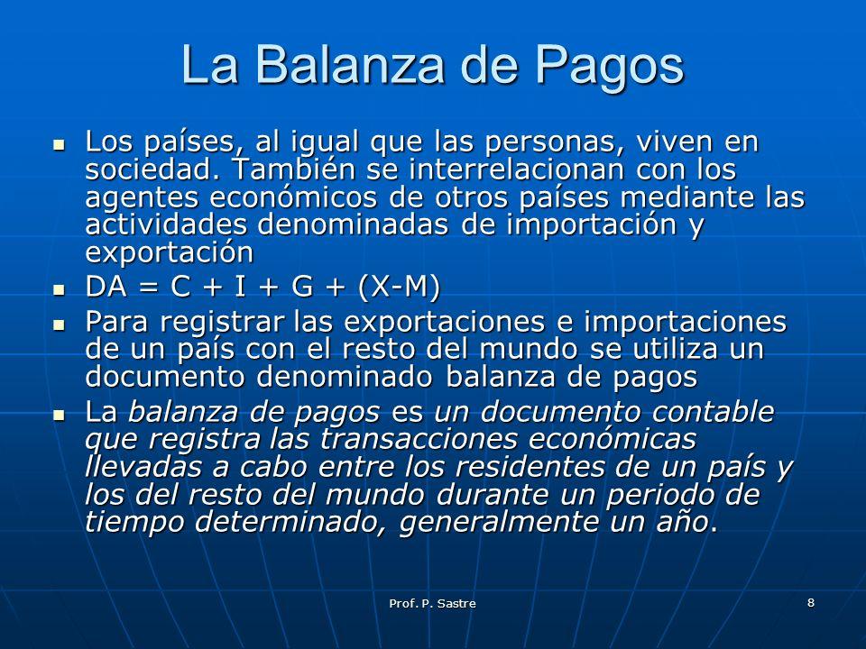 Prof. P. Sastre 8 La Balanza de Pagos Los países, al igual que las personas, viven en sociedad. También se interrelacionan con los agentes económicos