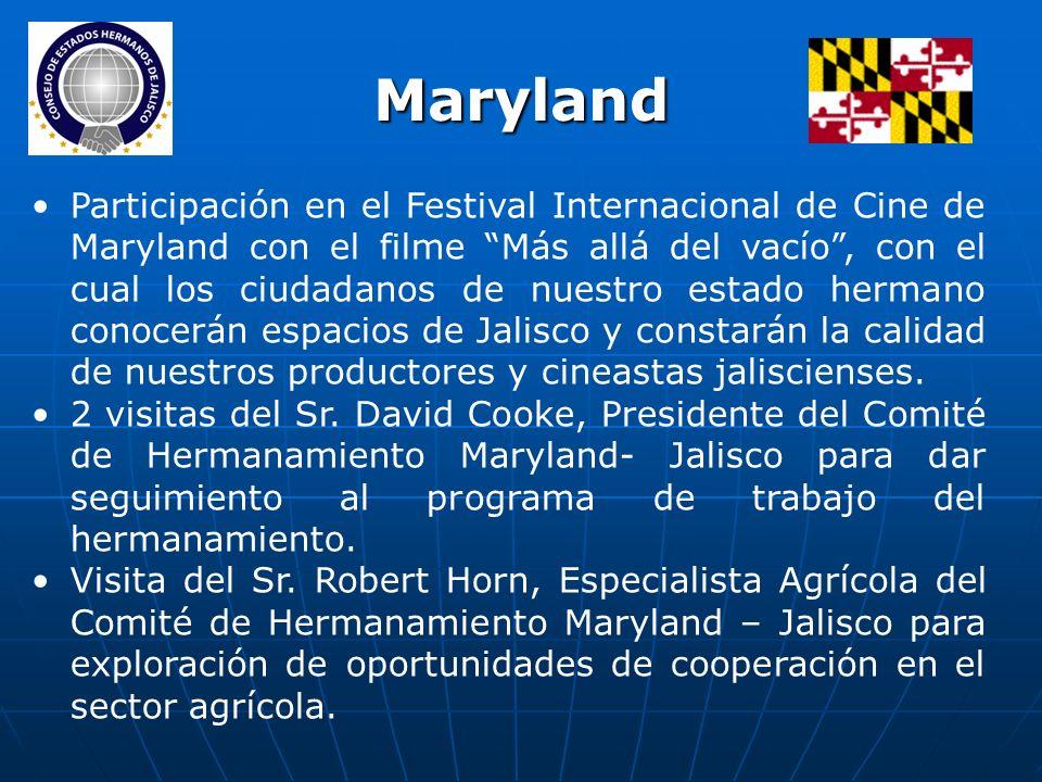 Participación en el Festival Internacional de Cine de Maryland con el filme Más allá del vacío, con el cual los ciudadanos de nuestro estado hermano conocerán espacios de Jalisco y constarán la calidad de nuestros productores y cineastas jaliscienses.