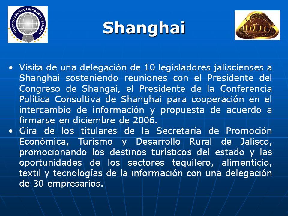 Visita de una delegación de 10 legisladores jaliscienses a Shanghai sosteniendo reuniones con el Presidente del Congreso de Shangai, el Presidente de la Conferencia Política Consultiva de Shanghai para cooperación en el intercambio de información y propuesta de acuerdo a firmarse en diciembre de 2006.