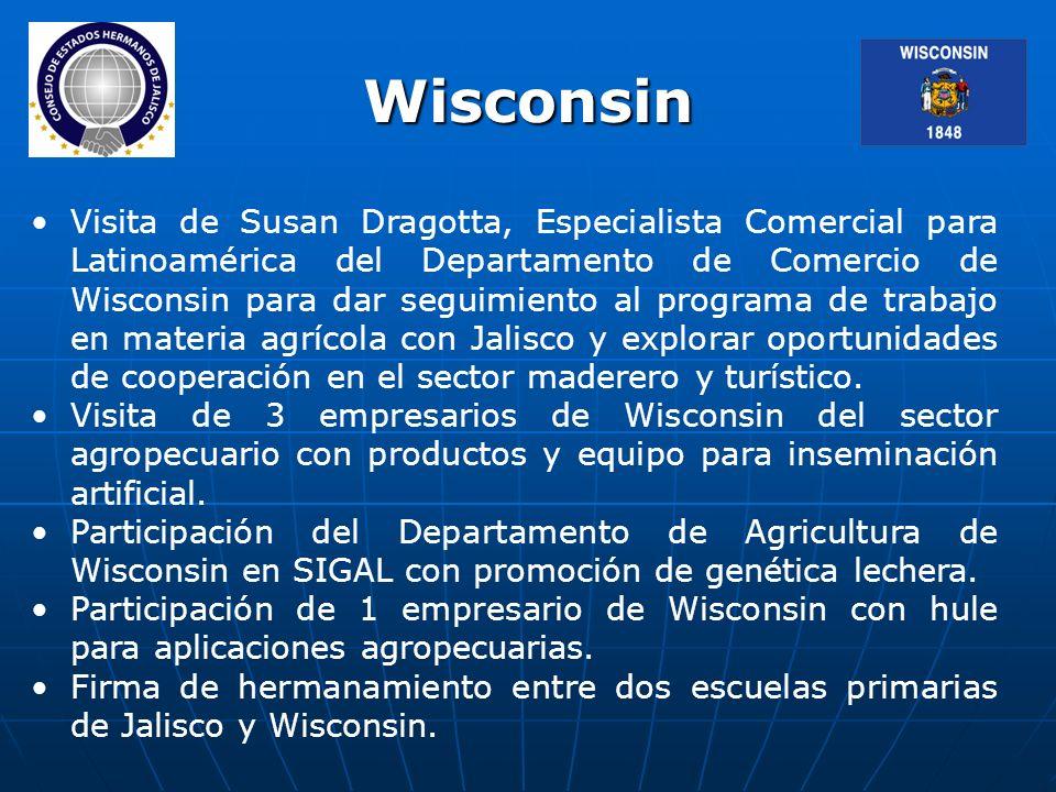 Visita de Susan Dragotta, Especialista Comercial para Latinoamérica del Departamento de Comercio de Wisconsin para dar seguimiento al programa de trabajo en materia agrícola con Jalisco y explorar oportunidades de cooperación en el sector maderero y turístico.