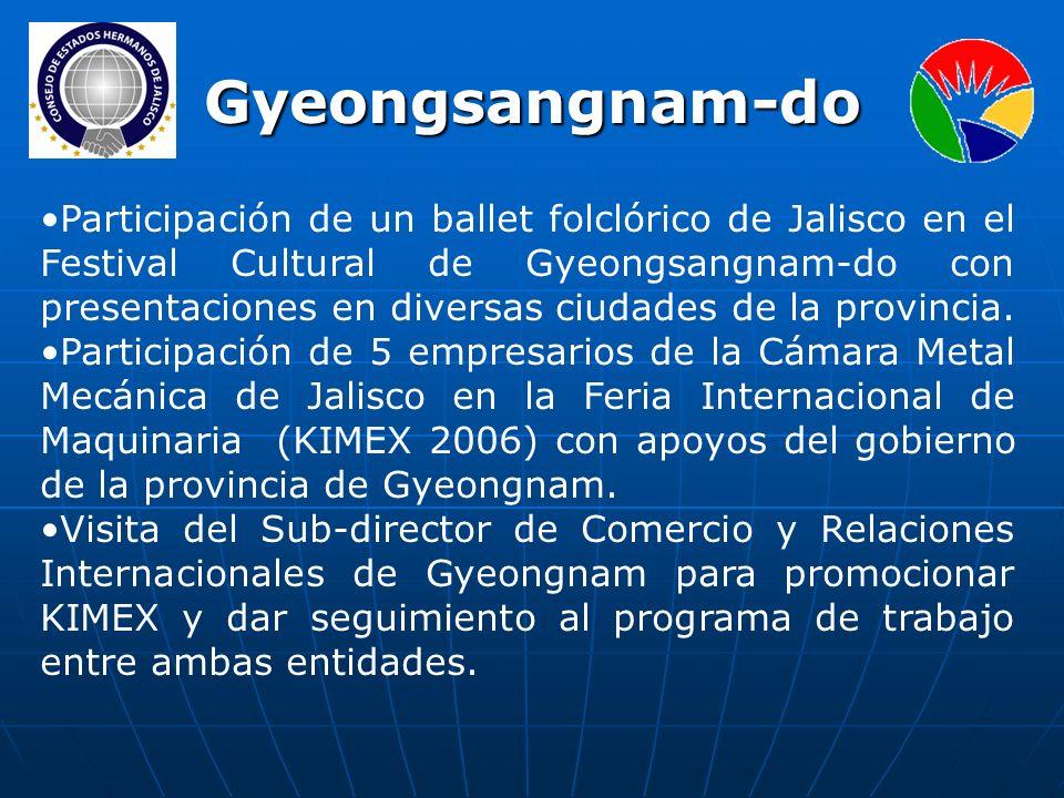 Participación de un ballet folclórico de Jalisco en el Festival Cultural de Gyeongsangnam-do con presentaciones en diversas ciudades de la provincia.