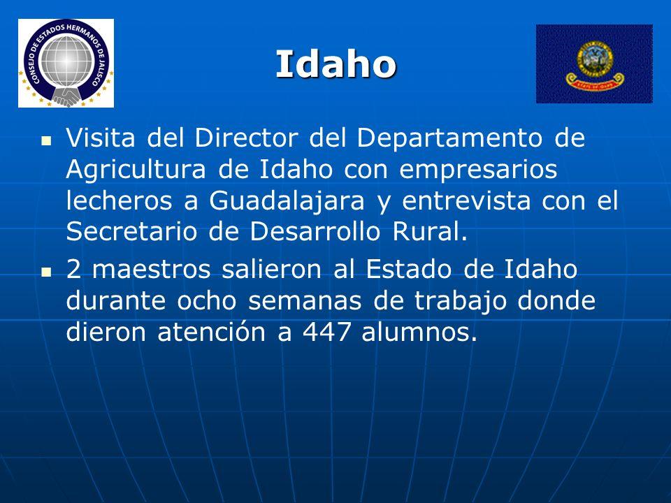 Idaho Visita del Director del Departamento de Agricultura de Idaho con empresarios lecheros a Guadalajara y entrevista con el Secretario de Desarrollo Rural.