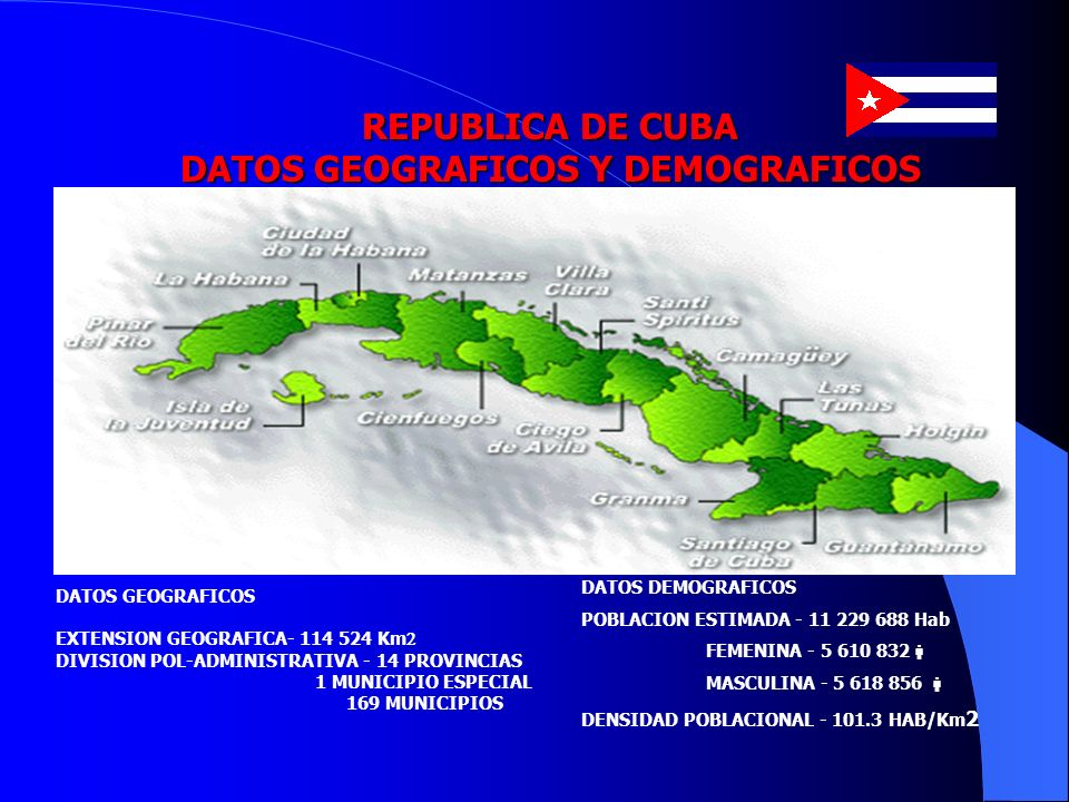 REPUBLICA DE CUBA DATOS GEOGRAFICOS Y DEMOGRAFICOS DATOS GEOGRAFICOS EXTENSION GEOGRAFICA- 114 524 Km DIVISION POL-ADMINISTRATIVA - 14 PROVINCIAS 1 MU