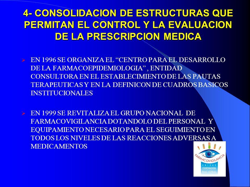 4- CONSOLIDACION DE ESTRUCTURAS QUE PERMITAN EL CONTROL Y LA EVALUACION DE LA PRESCRIPCION MEDICA EN 1996 SE ORGANIZA EL CENTRO PARA EL DESARROLLO DE LA FARMACOEPIDEMIOLOGIA, ENTIDAD CONSULTORA EN EL ESTABLECIMIENTO DE LAS PAUTAS TERAPEUTICAS Y EN LA DEFINICON DE CUADROS BASICOS INSTITUCIONALES EN 1999 SE REVITALIZA EL GRUPO NACIONAL DE FARMACOVIGILANCIA DOTANDOLO DEL PERSONAL Y EQUIPAMIENTO NECESARIO PARA EL SEGUIMIENTO EN TODOS LOS NIVELES DE LAS REACCIONES ADVERSAS A MEDICAMENTOS