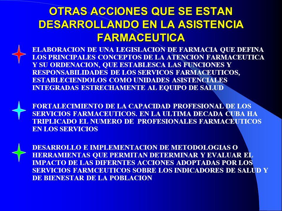 OTRAS ACCIONES QUE SE ESTAN DESARROLLANDO EN LA ASISTENCIA FARMACEUTICA ELABORACION DE UNA LEGISLACION DE FARMACIA QUE DEFINA LOS PRINCIPALES CONCEPTOS DE LA ATENCION FARMACEUTICA Y SU ORDENACION, QUE ESTABLESCA LAS FUNCIONES Y RESPONSABILIDADES DE LOS SERVICOS FARMACEUTICOS, ESTABLECIENDOLOS COMO UNIDADES ASISTENCIALES INTEGRADAS ESTRECHAMENTE AL EQUIPO DE SALUD FORTALECIMIENTO DE LA CAPACIDAD PROFESIONAL DE LOS SERVICIOS FARMACEUTICOS.