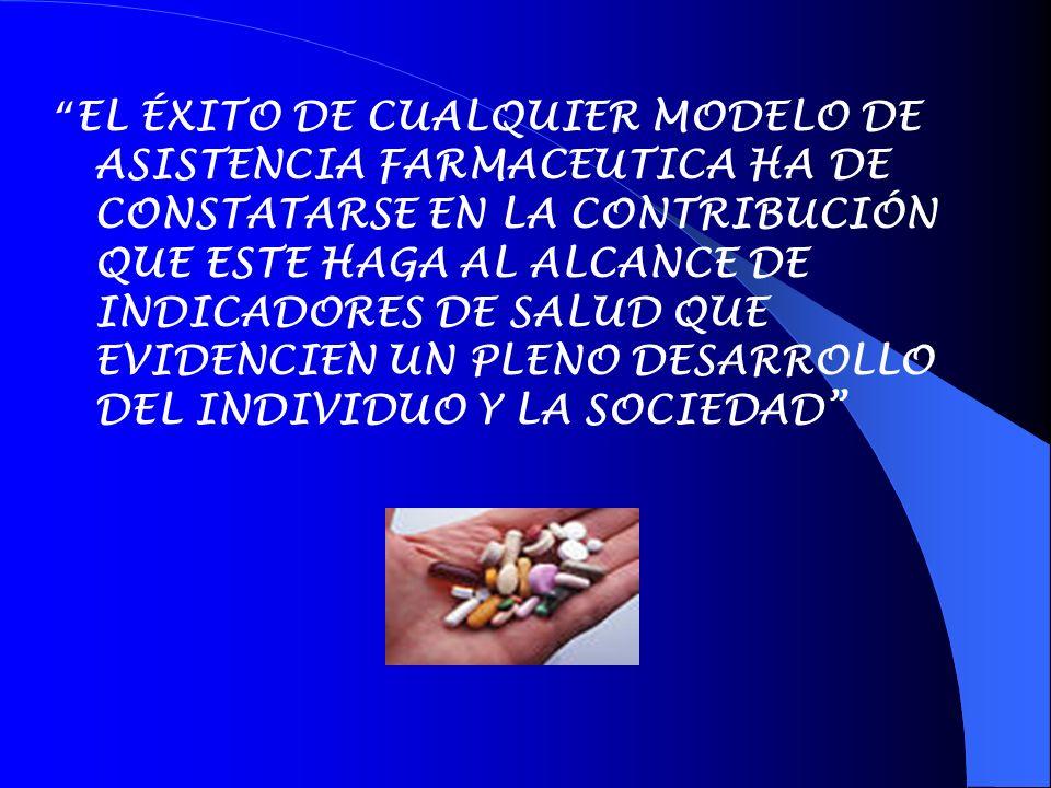 EL ÉXITO DE CUALQUIER MODELO DE ASISTENCIA FARMACEUTICA HA DE CONSTATARSE EN LA CONTRIBUCIÓN QUE ESTE HAGA AL ALCANCE DE INDICADORES DE SALUD QUE EVID