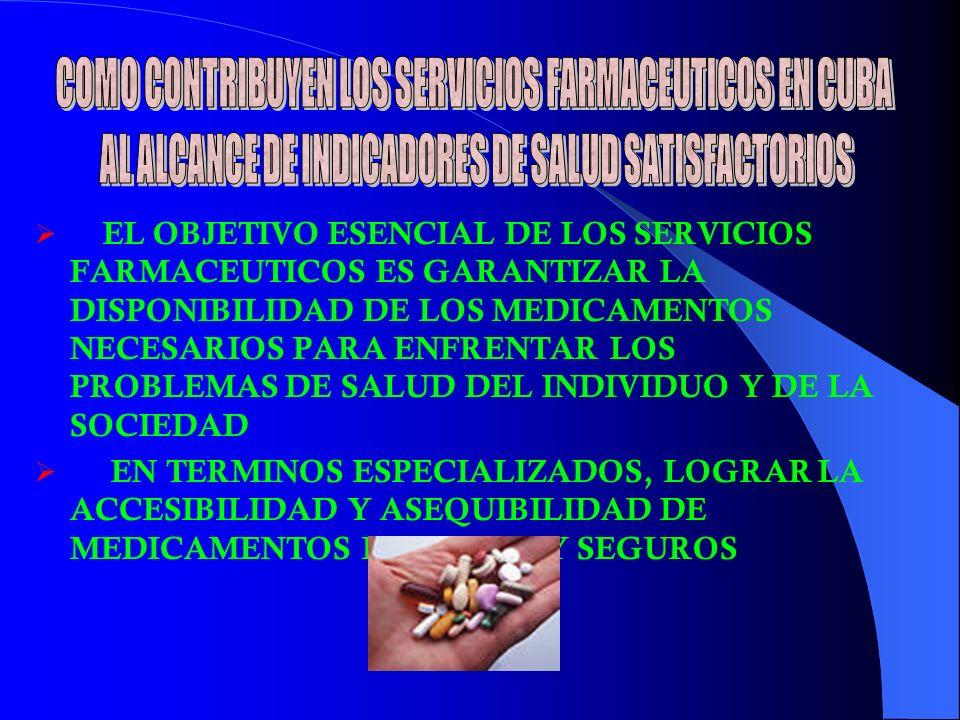 EL OBJETIVO ESENCIAL DE LOS SERVICIOS FARMACEUTICOS ES GARANTIZAR LA DISPONIBILIDAD DE LOS MEDICAMENTOS NECESARIOS PARA ENFRENTAR LOS PROBLEMAS DE SALUD DEL INDIVIDUO Y DE LA SOCIEDAD EN TERMINOS ESPECIALIZADOS, LOGRAR LA ACCESIBILIDAD Y ASEQUIBILIDAD DE MEDICAMENTOS EFICACES Y SEGUROS