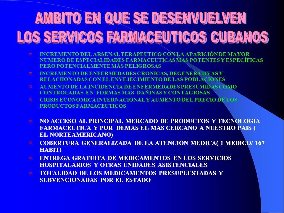 ã INCREMENTO DEL ARSENAL TERAPEUTICO CON LA APARICIÓN DE MAYOR NÚMERO DE ESPECIALIDADES FARMACEUTICAS MAS POTENTES Y ESPECÍFICAS PERO POTENCIALMENTE MÁS PELIGROSAS ã INCREMENTO DE ENFERMEDADES CRONICAS, DEGENERATIVAS Y RELACIIONADAS CON EL ENVEJECIMIENTO DE LAS POBLACIONES ã AUMENTO DE LA INCIDENCIA DE ENFERMEDADES PRESUMIDAS COMO CONTROLADAS EN FORMAS MAS DAÑINAS Y CONTAGIOSAS ã CRISIS ECONOMICA INTERNACIONAL Y AUMENTO DEL PRECIO DE LOS PRODUCTOS FARMACEUTICOS ã NO ACCESO AL PRINCIPAL MERCADO DE PRODUCTOS Y TECNOLOGIA FARMACEUTICA Y POR DEMAS EL MAS CERCANO A NUESTRO PAIS ( EL NORTEAMERICANO) ã COBERTURA GENERALIZADA DE LA ATENCIÓN MEDICA( 1 MEDICO/ 167 HABIT) ã ENTREGA GRATUITA DE MEDICAMENTOS EN LOS SERVICIOS HOSPITALARIOS Y OTRAS UNIDADES ASISTENCIALES ã TOTALIDAD DE LOS MEDICAMENTOS PRESUPUESTADAS Y SUBVENCIONADAS POR EL ESTADO