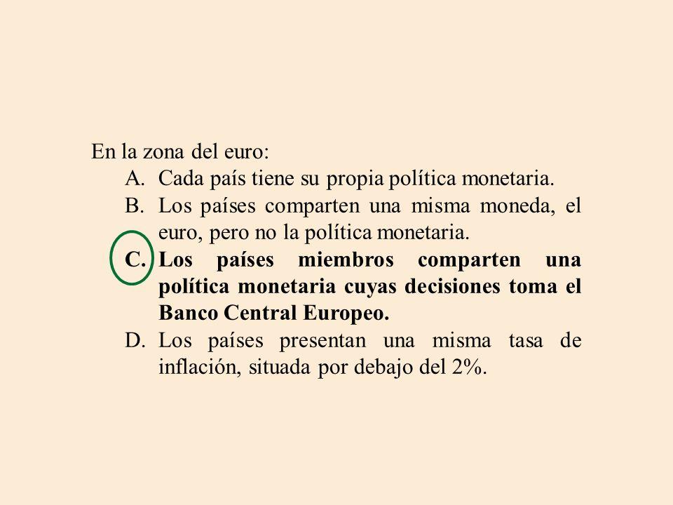 En la zona del euro: A.Cada país tiene su propia política monetaria. B.Los países comparten una misma moneda, el euro, pero no la política monetaria.