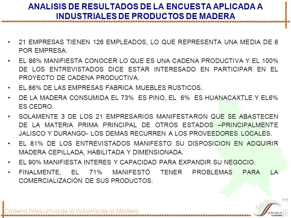 Cadena Productiva de la Industria de la Madera 111 ANALISIS DE RESULTADOS DE LA ENCUESTA APLICADA A INDUSTRIALES DE PRODUCTOS DE MADERA 21 EMPRESAS TI