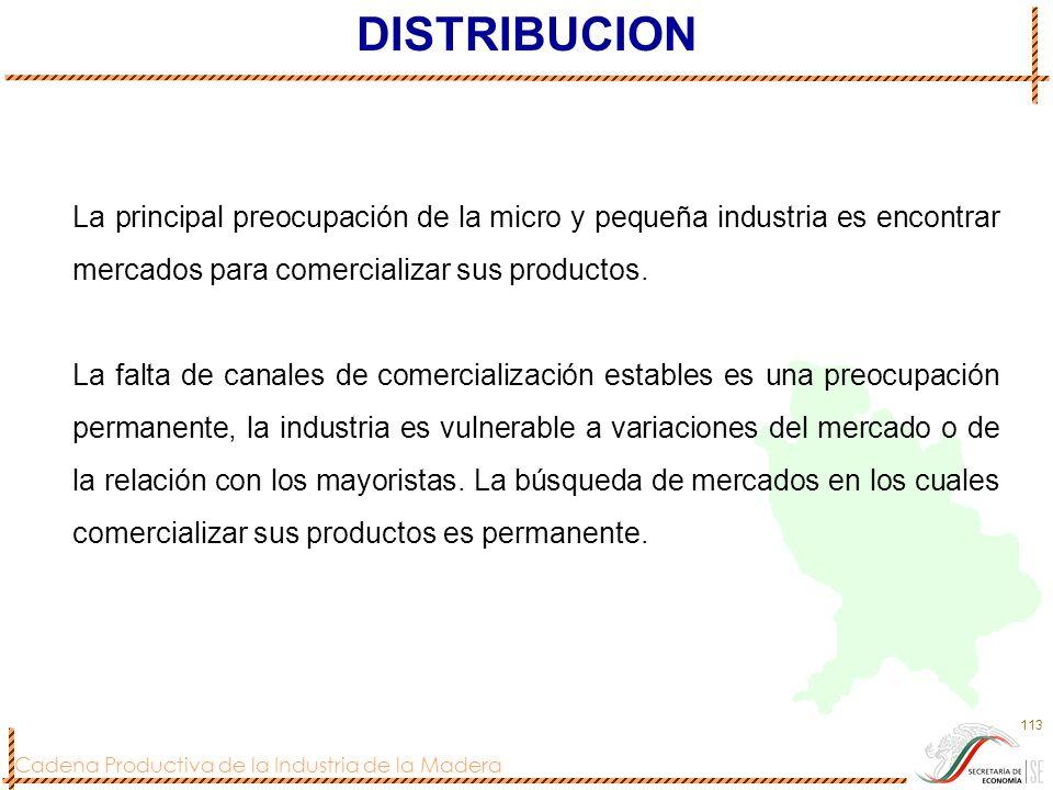 Cadena Productiva de la Industria de la Madera 113 DISTRIBUCION La principal preocupación de la micro y pequeña industria es encontrar mercados para c