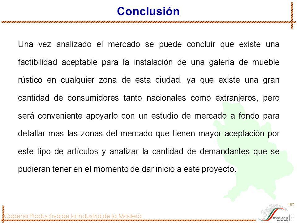 Cadena Productiva de la Industria de la Madera 157 Conclusión Una vez analizado el mercado se puede concluir que existe una factibilidad aceptable par