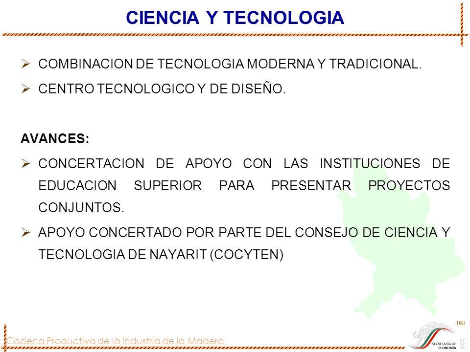 Cadena Productiva de la Industria de la Madera 168 CIENCIA Y TECNOLOGIA COMBINACION DE TECNOLOGIA MODERNA Y TRADICIONAL. CENTRO TECNOLOGICO Y DE DISEÑ