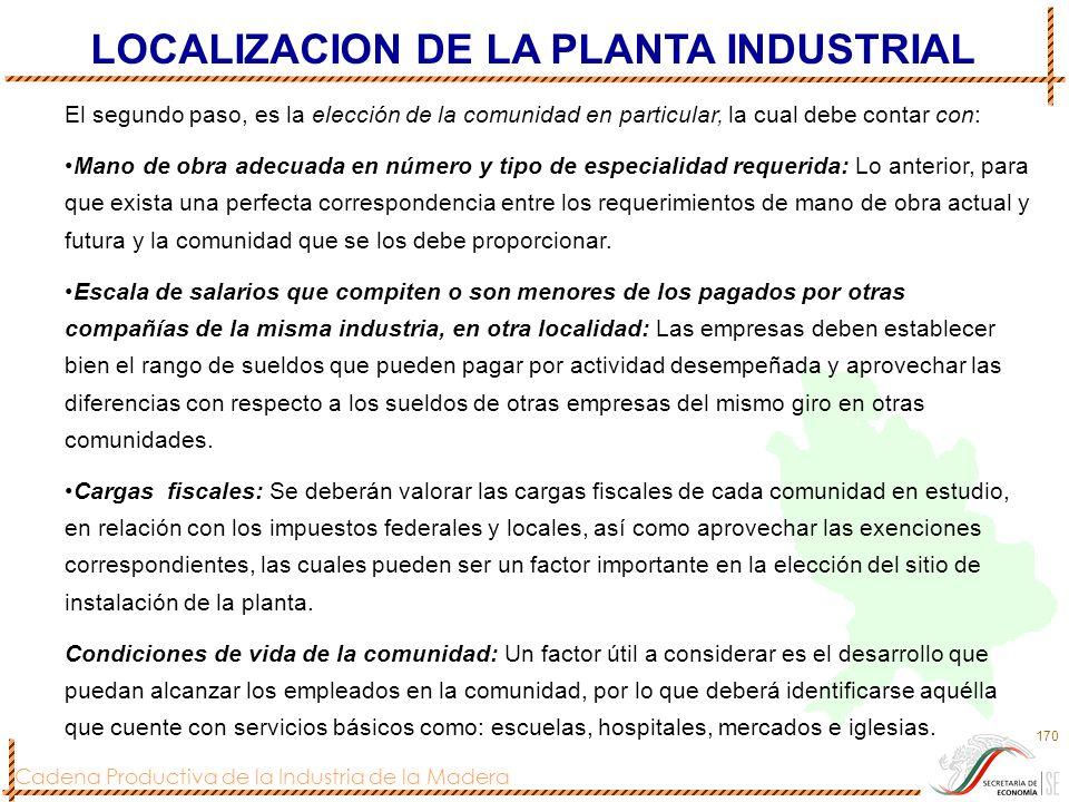 Cadena Productiva de la Industria de la Madera 170 El segundo paso, es la elección de la comunidad en particular, la cual debe contar con: Mano de obr