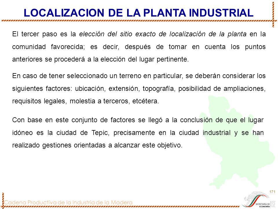 Cadena Productiva de la Industria de la Madera 171 El tercer paso es la elección del sitio exacto de localización de la planta en la comunidad favorec