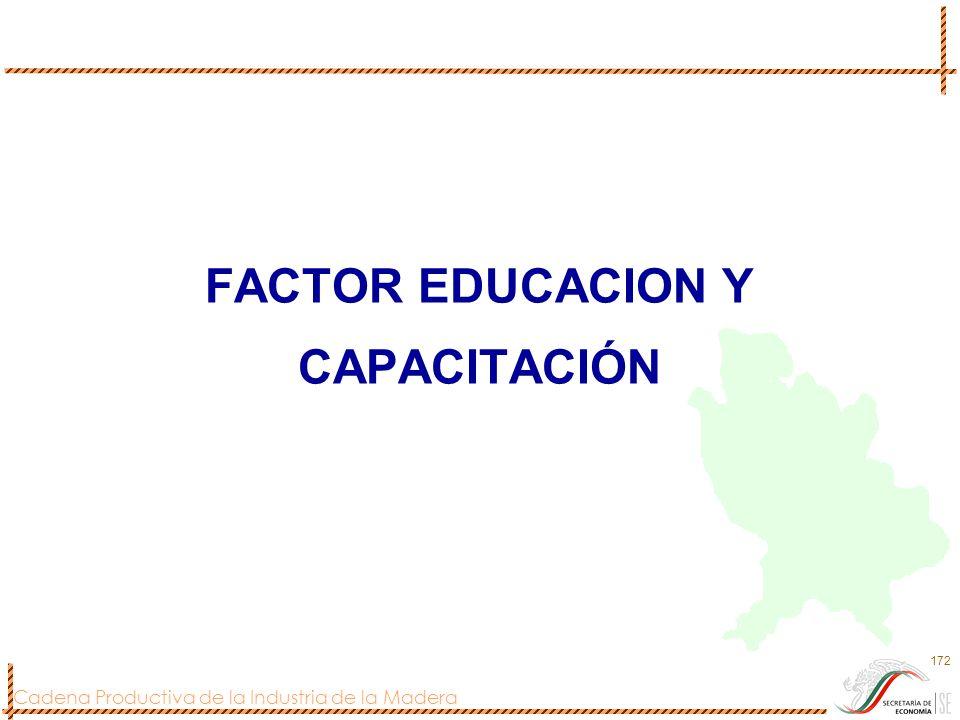 Cadena Productiva de la Industria de la Madera 172 FACTOR EDUCACION Y CAPACITACIÓN
