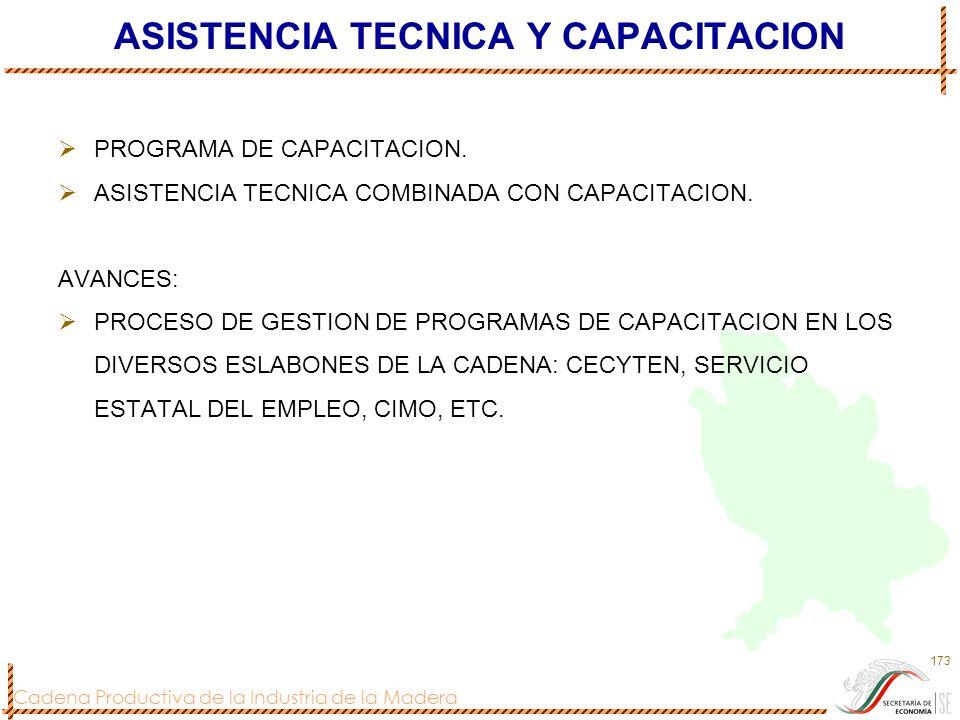 Cadena Productiva de la Industria de la Madera 173 ASISTENCIA TECNICA Y CAPACITACION PROGRAMA DE CAPACITACION. ASISTENCIA TECNICA COMBINADA CON CAPACI