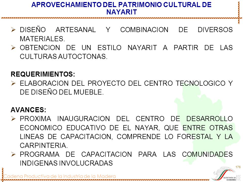 Cadena Productiva de la Industria de la Madera 176 APROVECHAMIENTO DEL PATRIMONIO CULTURAL DE NAYARIT DISEÑO ARTESANAL Y COMBINACION DE DIVERSOS MATER