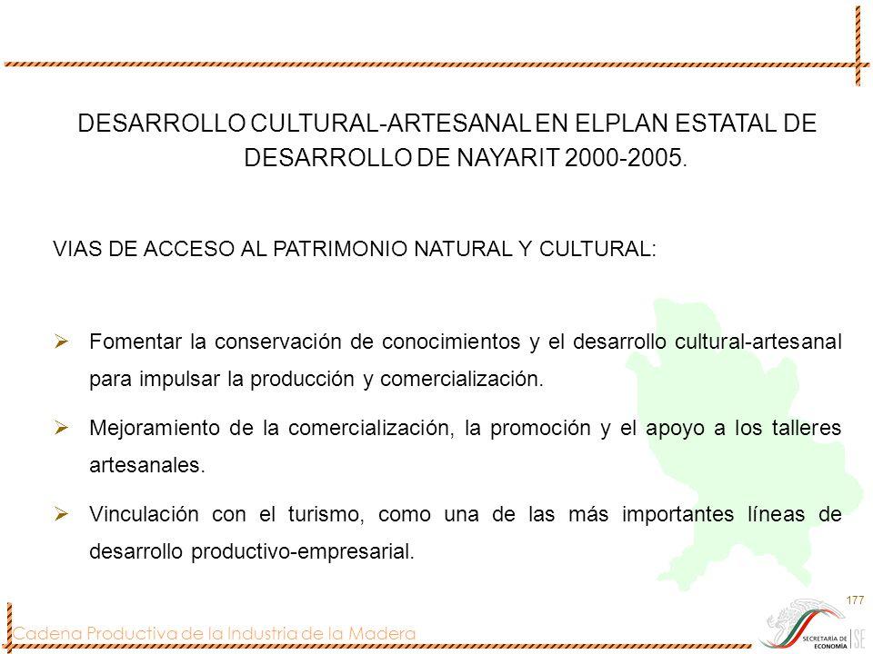 Cadena Productiva de la Industria de la Madera 177 DESARROLLO CULTURAL-ARTESANAL EN ELPLAN ESTATAL DE DESARROLLO DE NAYARIT 2000-2005. VIAS DE ACCESO
