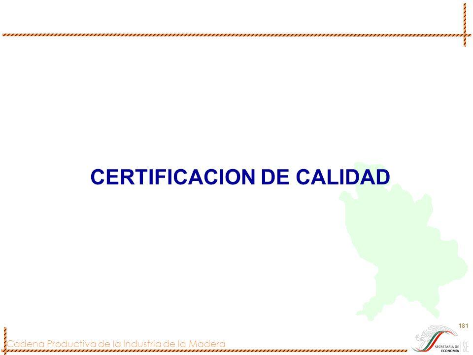 Cadena Productiva de la Industria de la Madera 181 CERTIFICACION DE CALIDAD