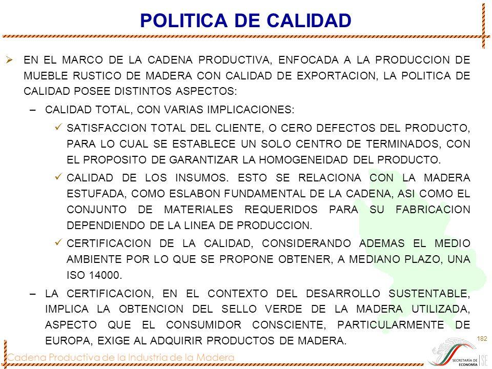 Cadena Productiva de la Industria de la Madera 182 POLITICA DE CALIDAD EN EL MARCO DE LA CADENA PRODUCTIVA, ENFOCADA A LA PRODUCCION DE MUEBLE RUSTICO