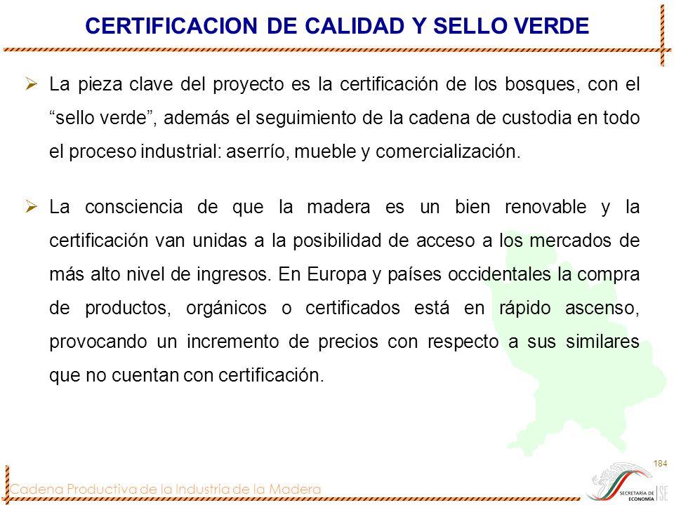 Cadena Productiva de la Industria de la Madera 184 CERTIFICACION DE CALIDAD Y SELLO VERDE La pieza clave del proyecto es la certificación de los bosqu