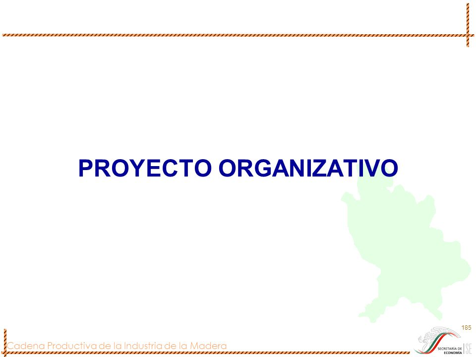 Cadena Productiva de la Industria de la Madera 185 PROYECTO ORGANIZATIVO