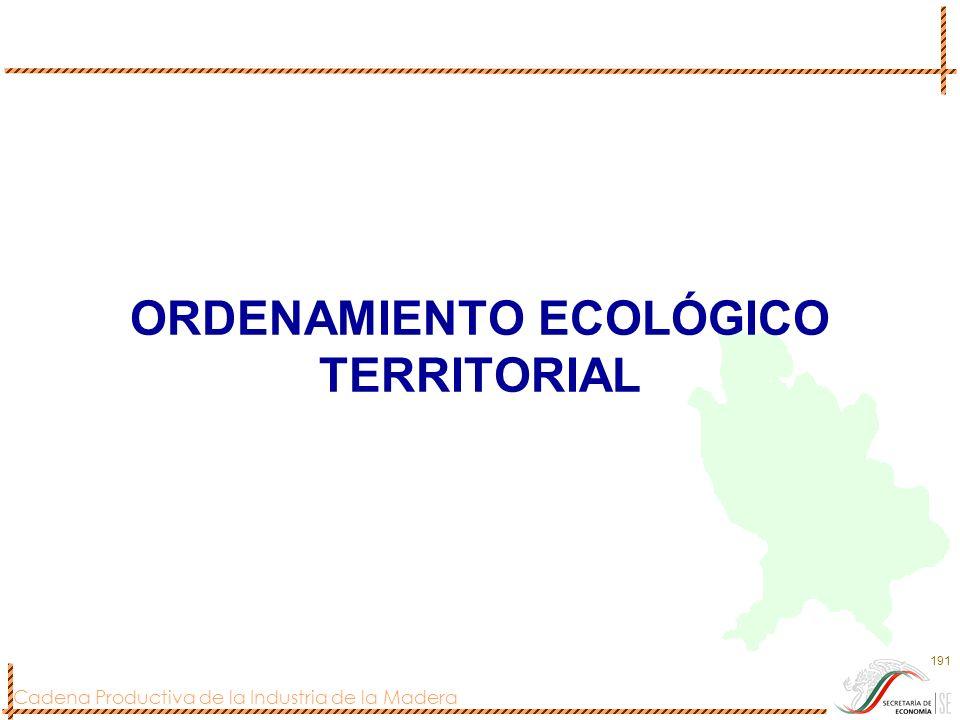 Cadena Productiva de la Industria de la Madera 191 ORDENAMIENTO ECOLÓGICO TERRITORIAL