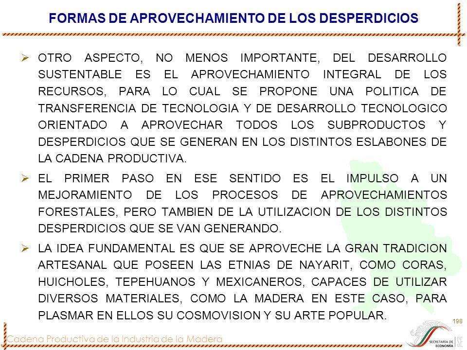 Cadena Productiva de la Industria de la Madera 198 FORMAS DE APROVECHAMIENTO DE LOS DESPERDICIOS OTRO ASPECTO, NO MENOS IMPORTANTE, DEL DESARROLLO SUS