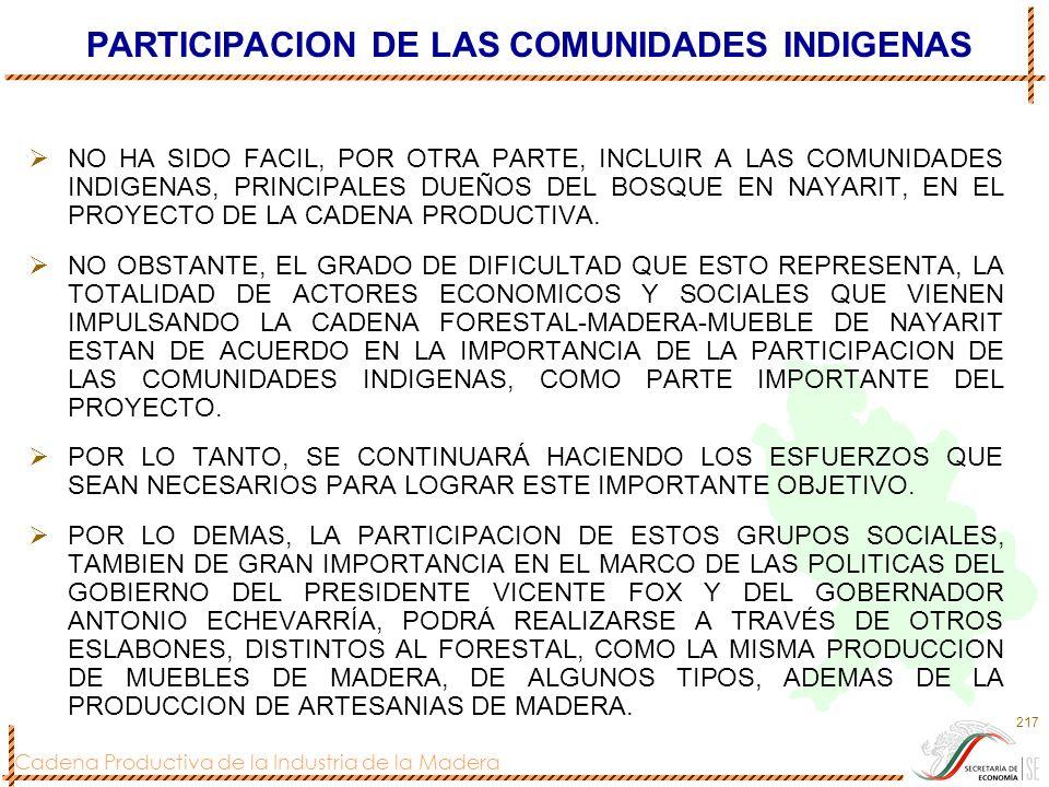 Cadena Productiva de la Industria de la Madera 217 PARTICIPACION DE LAS COMUNIDADES INDIGENAS NO HA SIDO FACIL, POR OTRA PARTE, INCLUIR A LAS COMUNIDA
