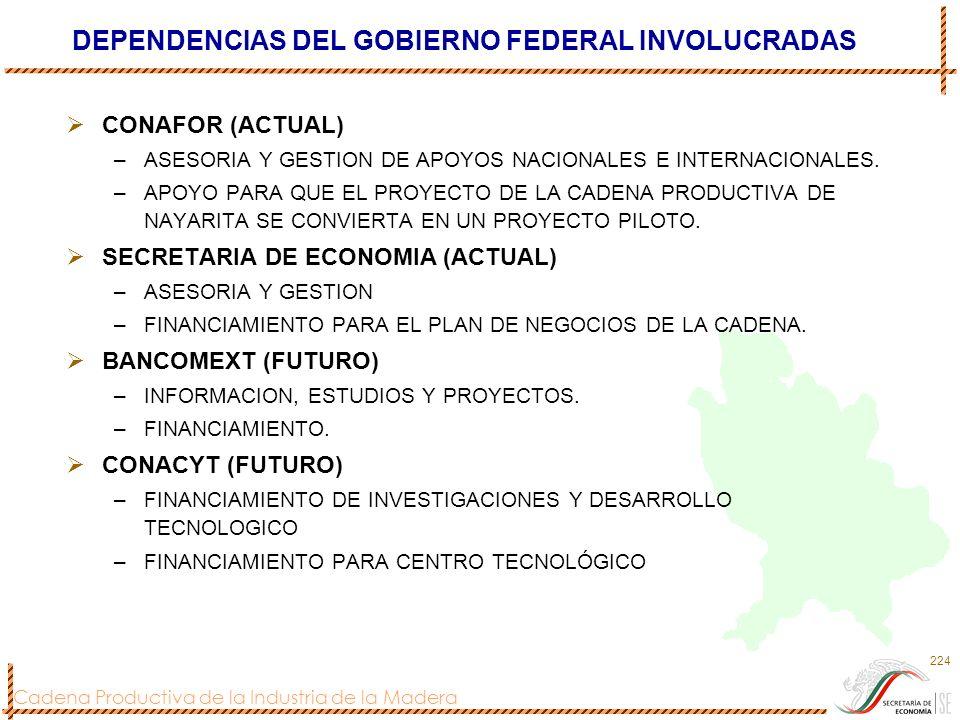 Cadena Productiva de la Industria de la Madera 224 DEPENDENCIAS DEL GOBIERNO FEDERAL INVOLUCRADAS CONAFOR (ACTUAL) –ASESORIA Y GESTION DE APOYOS NACIO
