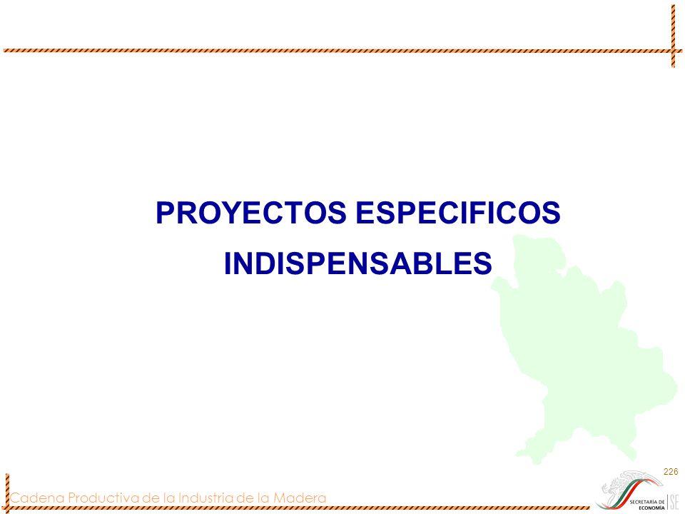 Cadena Productiva de la Industria de la Madera 226 PROYECTOS ESPECIFICOS INDISPENSABLES