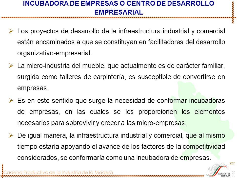 Cadena Productiva de la Industria de la Madera 227 INCUBADORA DE EMPRESAS O CENTRO DE DESARROLLO EMPRESARIAL Los proyectos de desarrollo de la infraes