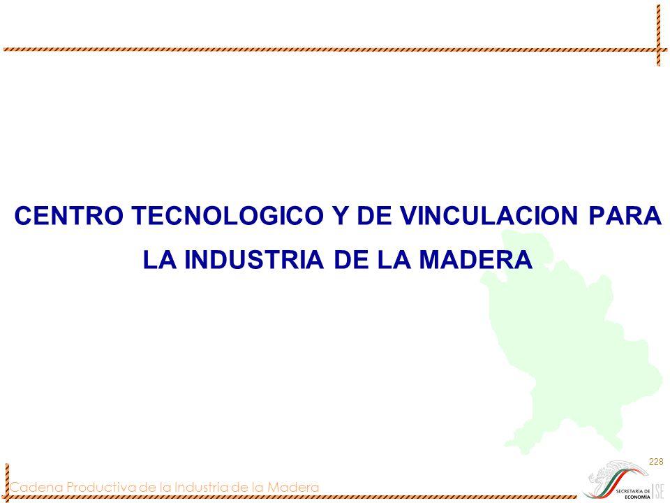 Cadena Productiva de la Industria de la Madera 228 CENTRO TECNOLOGICO Y DE VINCULACION PARA LA INDUSTRIA DE LA MADERA