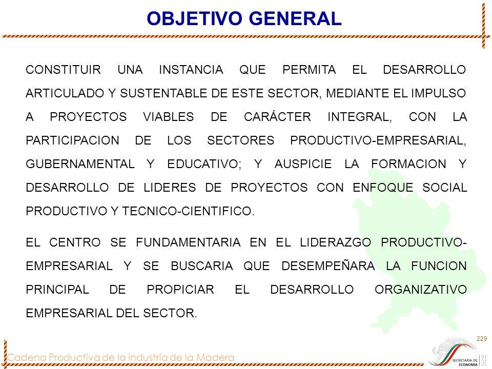 Cadena Productiva de la Industria de la Madera 229 CONSTITUIR UNA INSTANCIA QUE PERMITA EL DESARROLLO ARTICULADO Y SUSTENTABLE DE ESTE SECTOR, MEDIANT