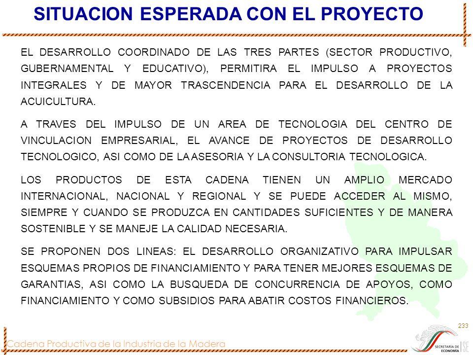 Cadena Productiva de la Industria de la Madera 233 SITUACION ESPERADA CON EL PROYECTO EL DESARROLLO COORDINADO DE LAS TRES PARTES (SECTOR PRODUCTIVO,