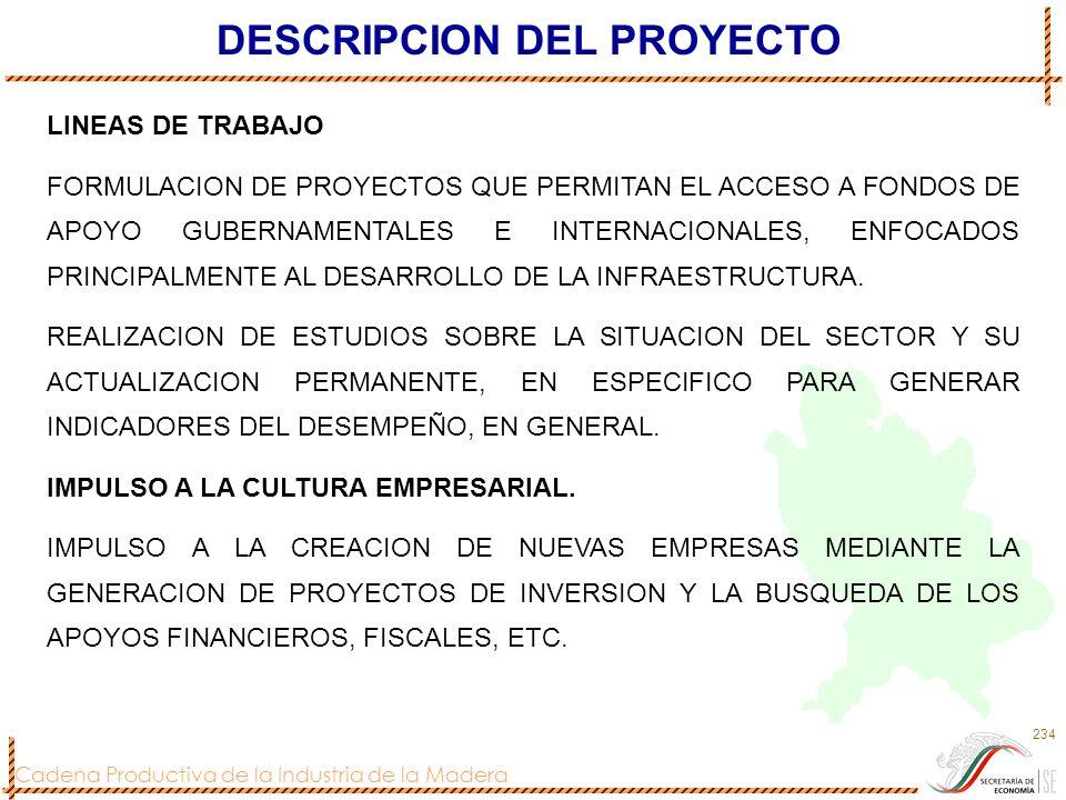 Cadena Productiva de la Industria de la Madera 234 DESCRIPCION DEL PROYECTO LINEAS DE TRABAJO FORMULACION DE PROYECTOS QUE PERMITAN EL ACCESO A FONDOS