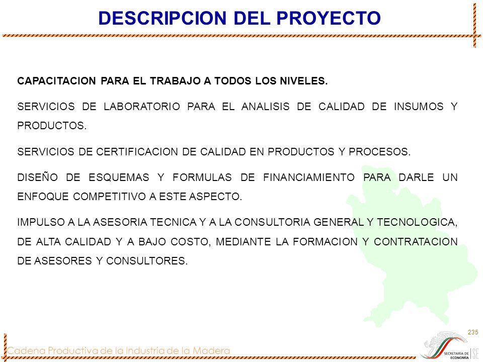 Cadena Productiva de la Industria de la Madera 235 DESCRIPCION DEL PROYECTO CAPACITACION PARA EL TRABAJO A TODOS LOS NIVELES. SERVICIOS DE LABORATORIO