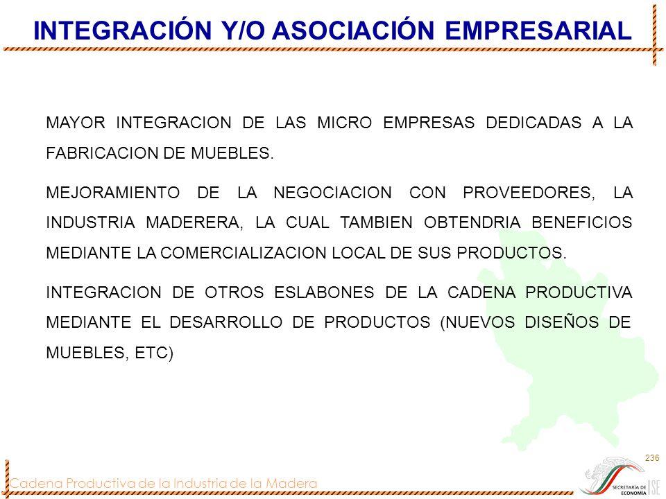 Cadena Productiva de la Industria de la Madera 236 INTEGRACIÓN Y/O ASOCIACIÓN EMPRESARIAL MAYOR INTEGRACION DE LAS MICRO EMPRESAS DEDICADAS A LA FABRI