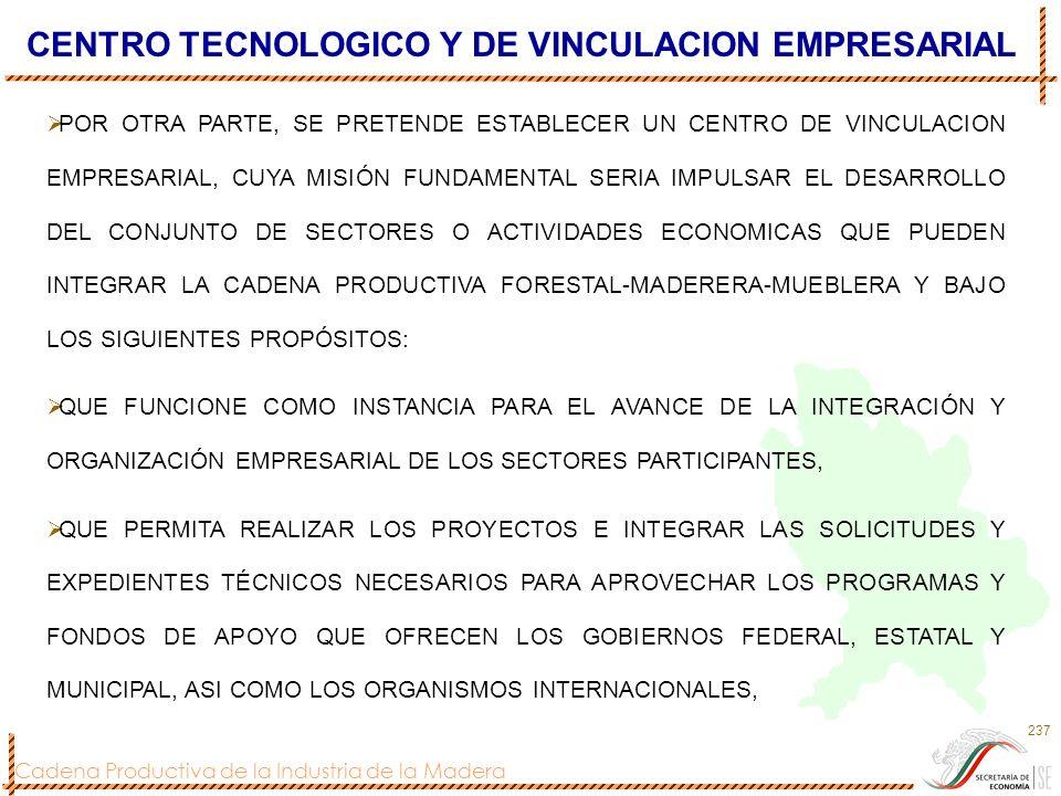 Cadena Productiva de la Industria de la Madera 237 CENTRO TECNOLOGICO Y DE VINCULACION EMPRESARIAL POR OTRA PARTE, SE PRETENDE ESTABLECER UN CENTRO DE
