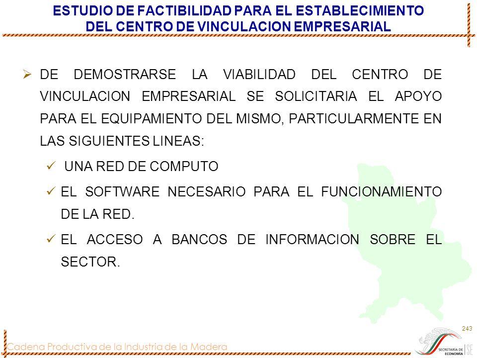 Cadena Productiva de la Industria de la Madera 243 ESTUDIO DE FACTIBILIDAD PARA EL ESTABLECIMIENTO DEL CENTRO DE VINCULACION EMPRESARIAL DE DEMOSTRARS