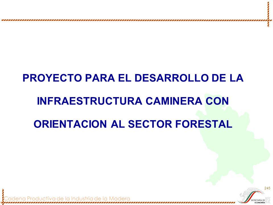 Cadena Productiva de la Industria de la Madera 245 PROYECTO PARA EL DESARROLLO DE LA INFRAESTRUCTURA CAMINERA CON ORIENTACION AL SECTOR FORESTAL