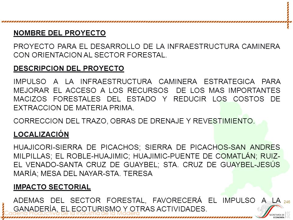 Cadena Productiva de la Industria de la Madera 246 NOMBRE DEL PROYECTO PROYECTO PARA EL DESARROLLO DE LA INFRAESTRUCTURA CAMINERA CON ORIENTACION AL S