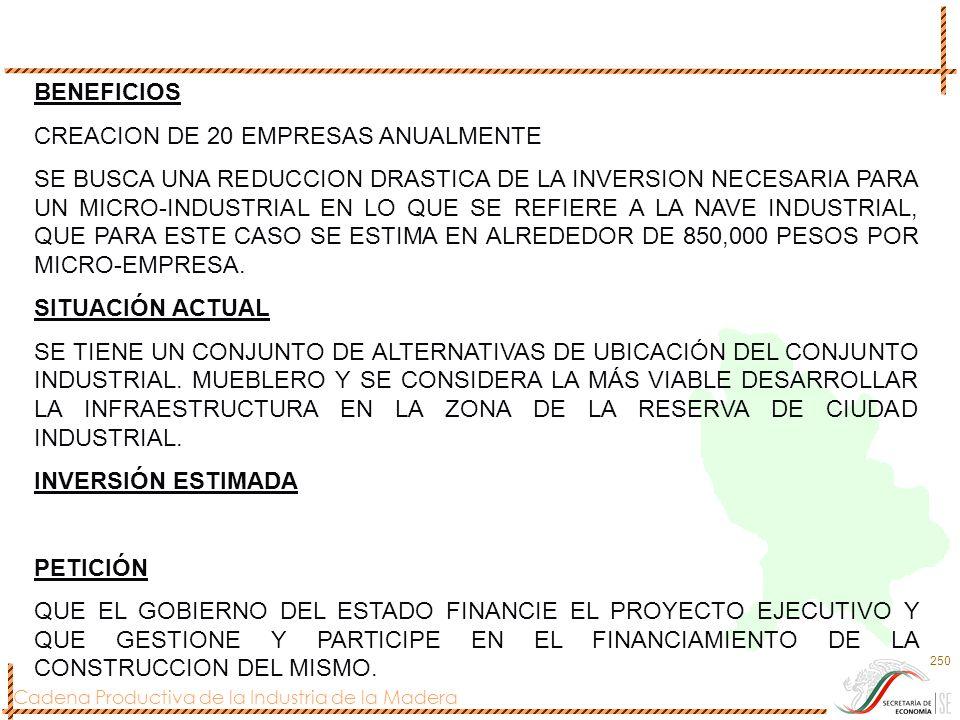 Cadena Productiva de la Industria de la Madera 250 BENEFICIOS CREACION DE 20 EMPRESAS ANUALMENTE SE BUSCA UNA REDUCCION DRASTICA DE LA INVERSION NECES