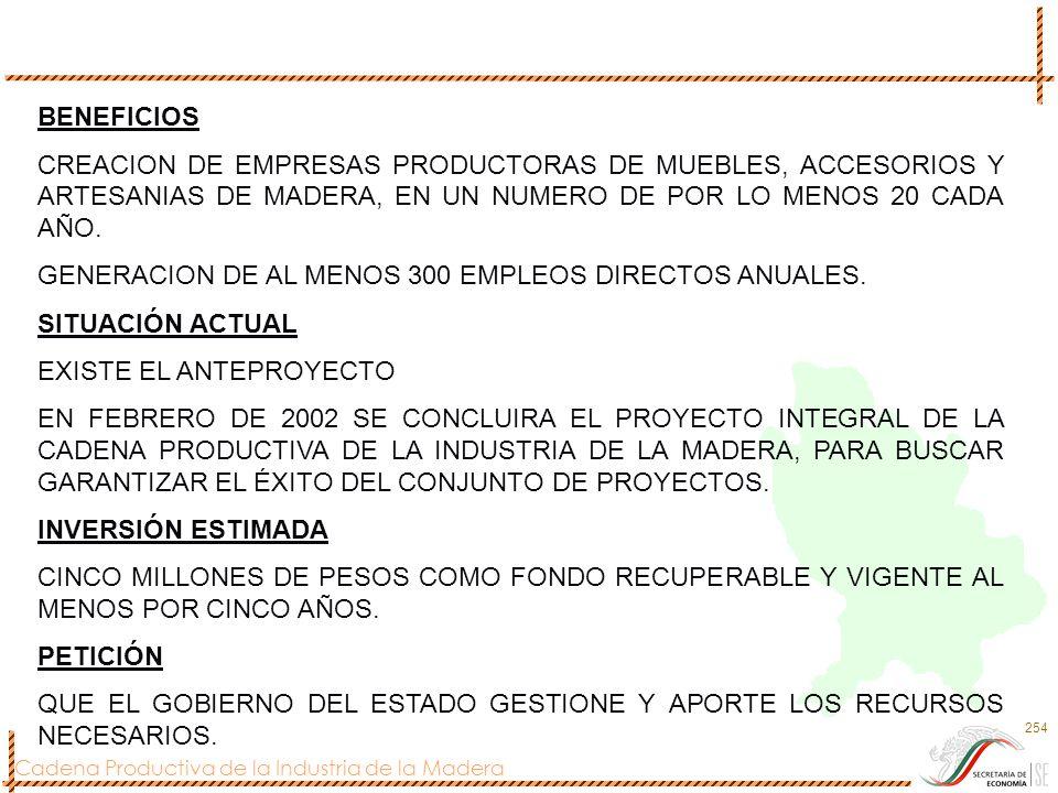 Cadena Productiva de la Industria de la Madera 254 BENEFICIOS CREACION DE EMPRESAS PRODUCTORAS DE MUEBLES, ACCESORIOS Y ARTESANIAS DE MADERA, EN UN NU