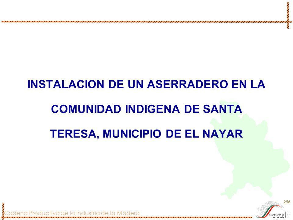 Cadena Productiva de la Industria de la Madera 256 INSTALACION DE UN ASERRADERO EN LA COMUNIDAD INDIGENA DE SANTA TERESA, MUNICIPIO DE EL NAYAR
