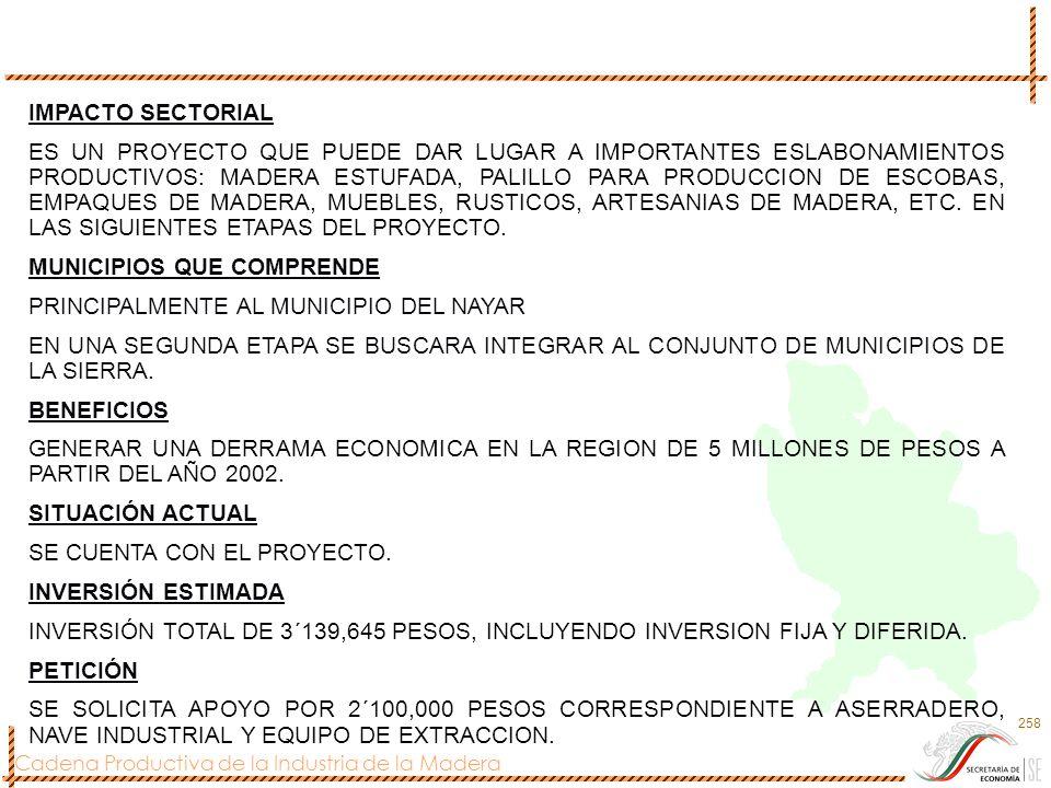 Cadena Productiva de la Industria de la Madera 258 IMPACTO SECTORIAL ES UN PROYECTO QUE PUEDE DAR LUGAR A IMPORTANTES ESLABONAMIENTOS PRODUCTIVOS: MAD