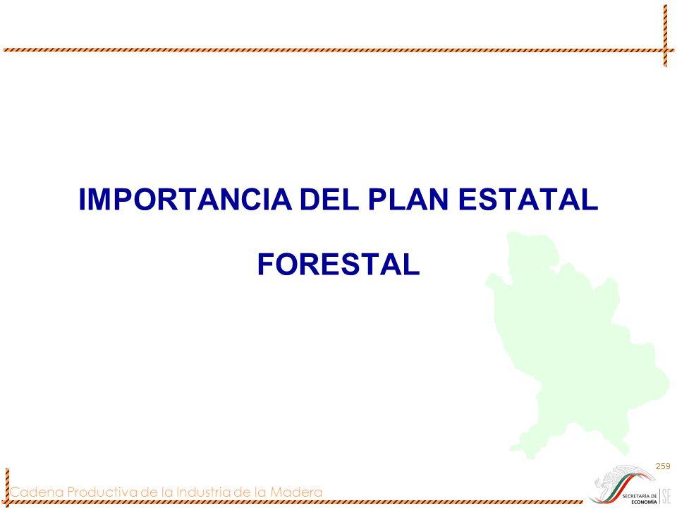 Cadena Productiva de la Industria de la Madera 259 IMPORTANCIA DEL PLAN ESTATAL FORESTAL