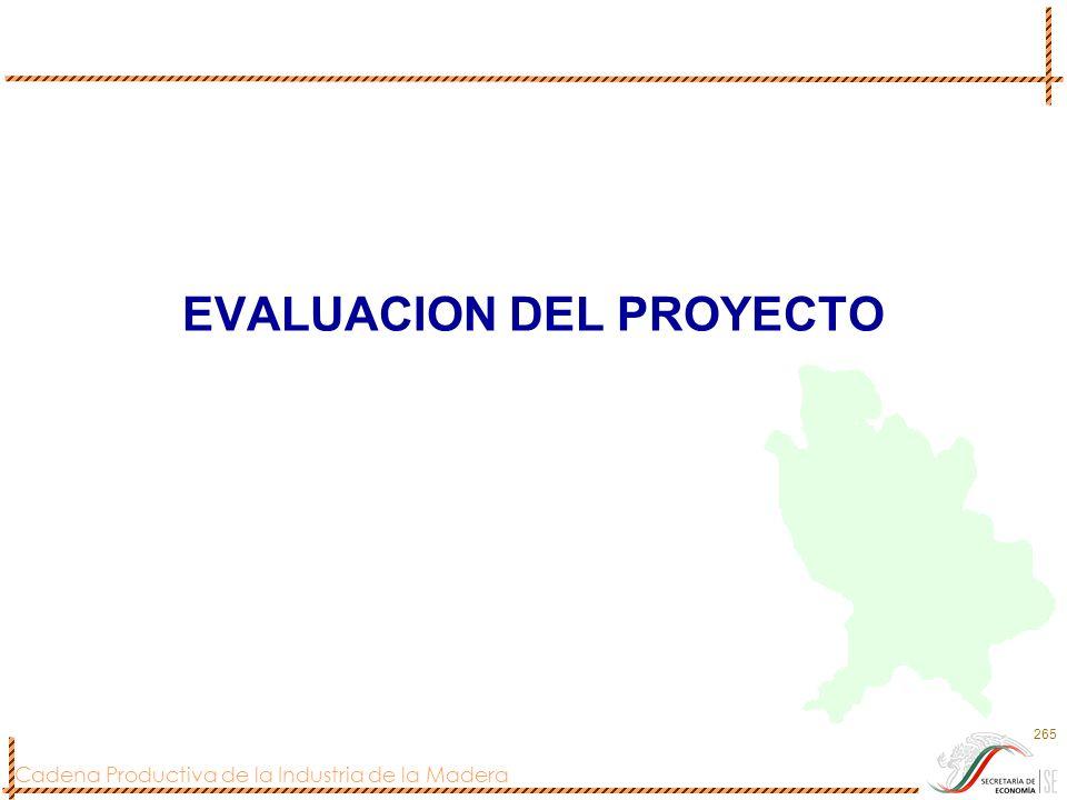 Cadena Productiva de la Industria de la Madera 265 EVALUACION DEL PROYECTO