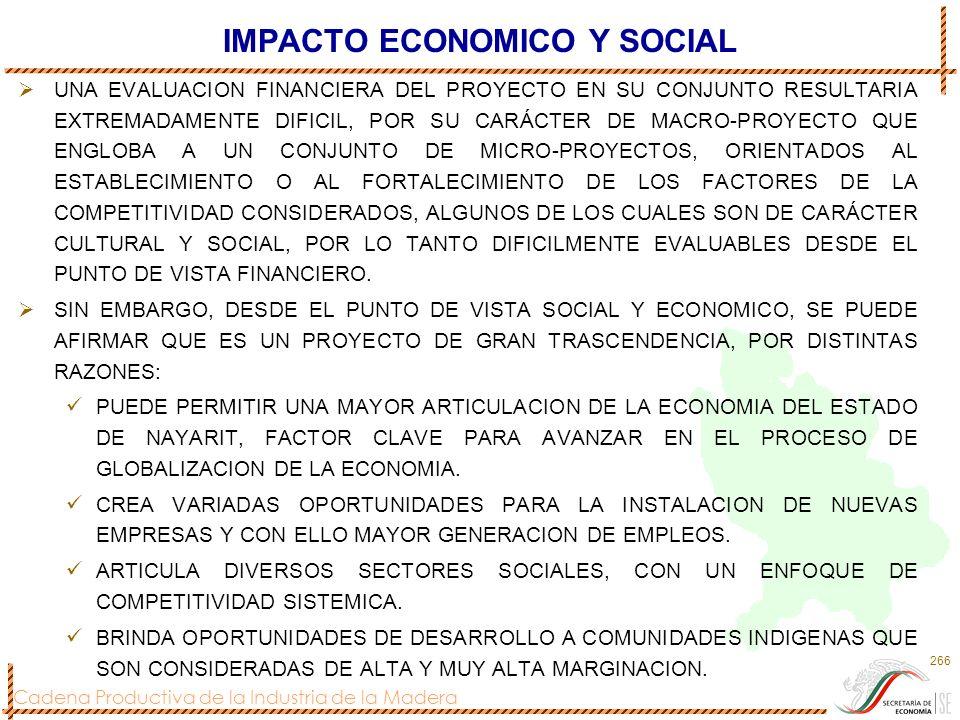 Cadena Productiva de la Industria de la Madera 266 IMPACTO ECONOMICO Y SOCIAL UNA EVALUACION FINANCIERA DEL PROYECTO EN SU CONJUNTO RESULTARIA EXTREMA